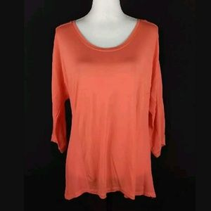 BLUE Saks Fifth Avenue coral mixed media top
